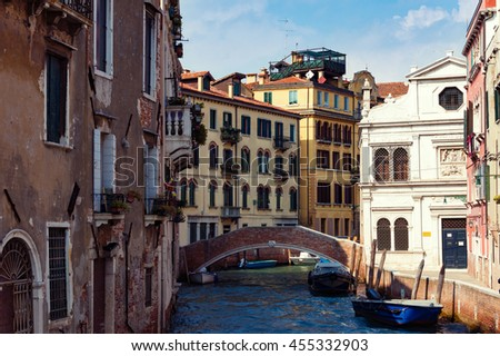 Facades of old Venice houses, buildings on water. Italy - stock photo