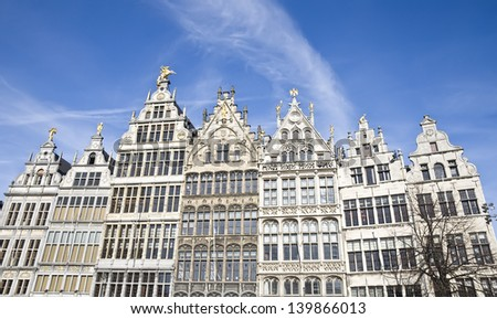 Facades of traditional houses in Antwerp, Belgium - stock photo