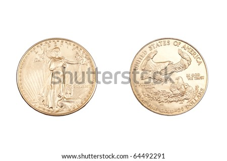 face and back of gold coin - stock photo