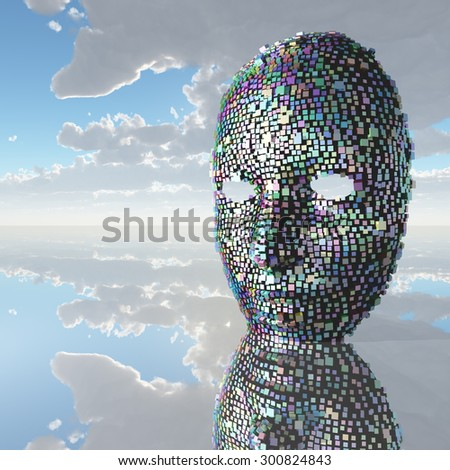 Face and reflective surface - stock photo