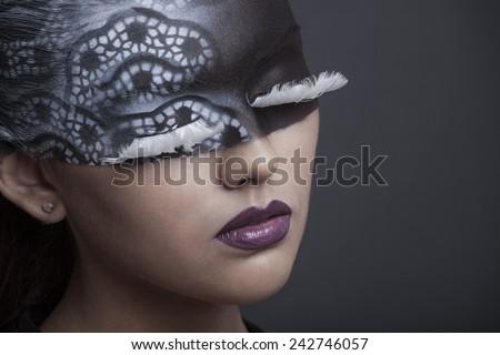 face art woman close up portrait - stock photo