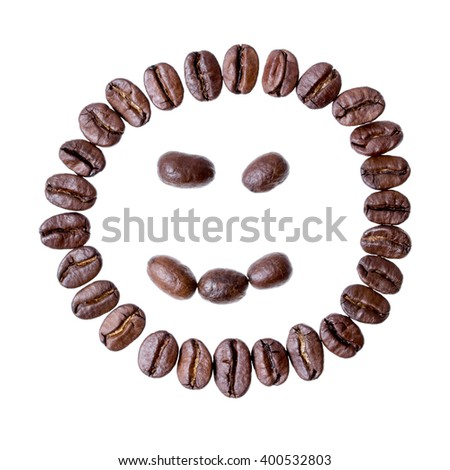 Face from coffee beans isolated on a white background - stock photo