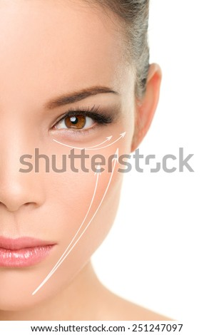 Face lift anti-aging treatment - Asian woman portrait with graphic lines showing facial lifting effect on skin. - stock photo