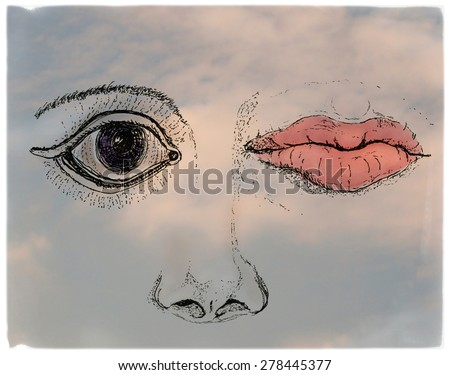 Face, metaphorical artistic collage  - stock photo