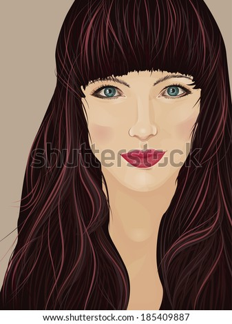 Face of a beautiful brunette woman with self-confident attitude - stock photo