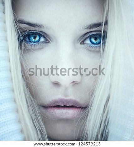 face of a beautiful girl. Photo in cold tones - stock photo