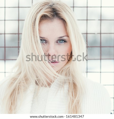 face of a beautiful sexy blonde - stock photo