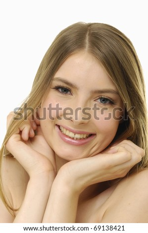 Face of a beautiful smile woman - stock photo