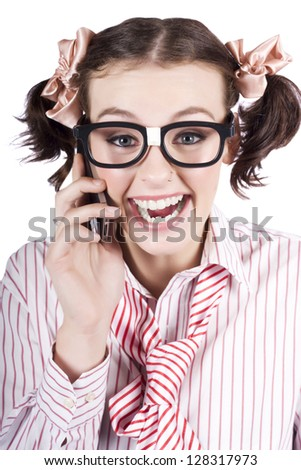 Face Of A Thrilled Business Person Selling Contracts And Talking Transactions Through A Smart Phone In A Depiction Of Engaging Business - stock photo