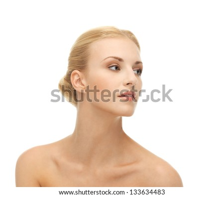 face of beautiful woman with blonde hair - stock photo