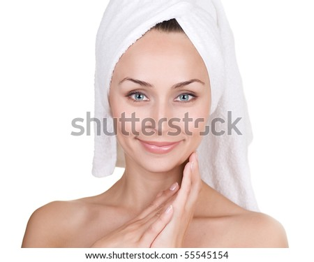 Face of Beautiful Young Woman after bath.Isolated on white - stock photo