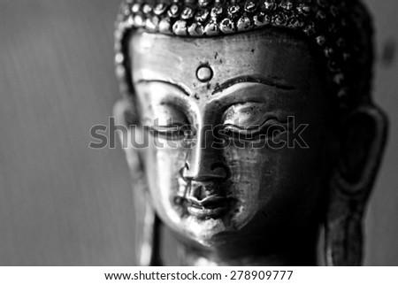Face of budda, Black and white - stock photo
