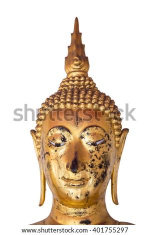 Face of buddha on white background - stock photo