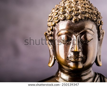 face of buddha statue isolated ,statue in Buddhist Thailand  temple or wat,  are public  domain  or treasure of Buddhism ,no restrict in copy or use . This photo  taken   these  conditions - stock photo