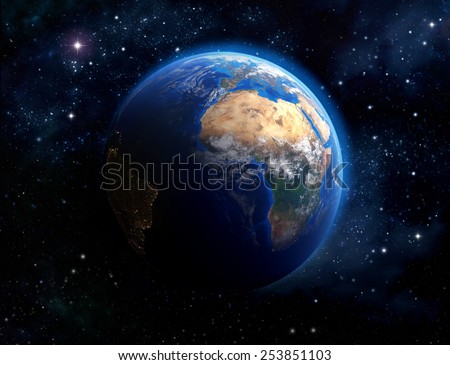 Face of the Earth. Imaginary view of planet earth in outer space. Elements of this image furnished by NASA - stock photo