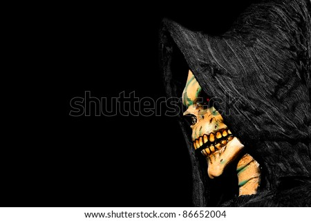 Face of the Grim Reaper. Space for text. - stock photo