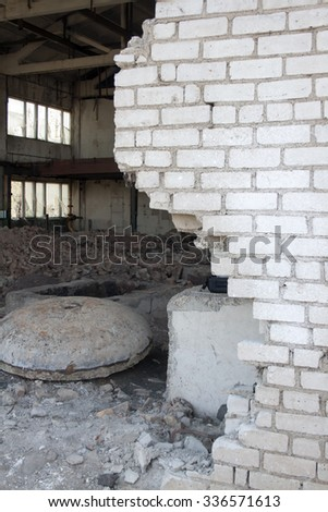 Face of war. Factory after bombing - stock photo