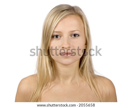 face of young blonde woman prepared to make plastic surgery composition (pure white background) - stock photo