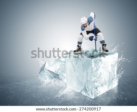 Face-off ice hockey moment on the ice cube concept - stock photo