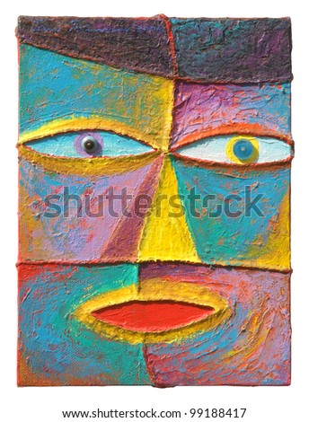 Face 12. Original acrylic painting on canvas. - stock photo