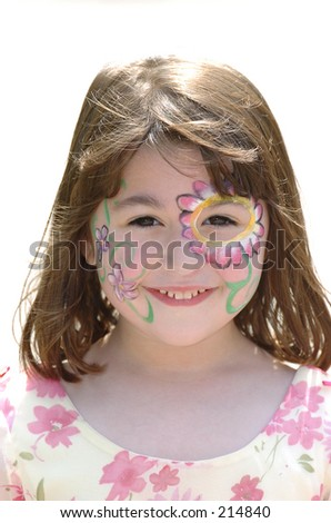Face painted girl - stock photo