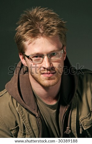 face portrait of a attractive man - stock photo