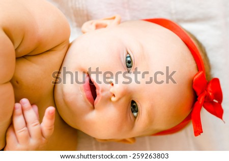 Face portrait of baby - stock photo