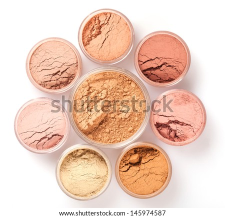 Face powder colors, top view - stock photo