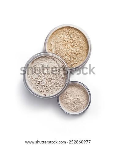 Face powder isolated on white - stock photo