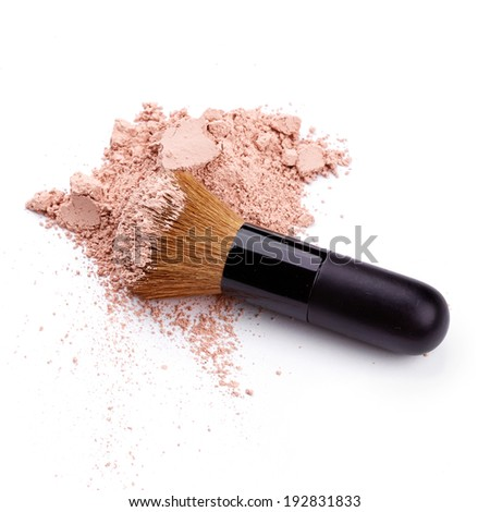 Face powder with brush over white background - stock photo