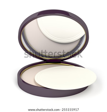 Face powder with mirror on white background - stock photo