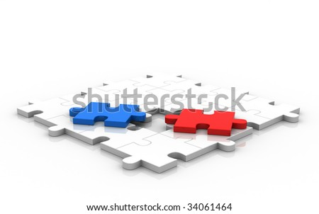 Face To Face Battle For Empty Place In The Middle. - stock photo