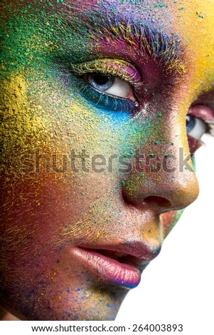 Face with colorful makeup closeup - stock photo