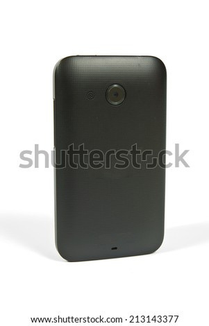 Faced with a cell phone placed back forward - stock photo