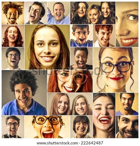Faces and smiles - stock photo