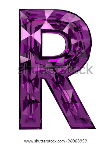 Faceted 3d diamond font r - stock photo