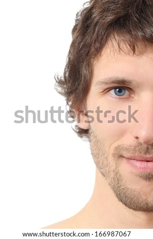 Facial close up of a half attractive man face isolated on a white background                  - stock photo