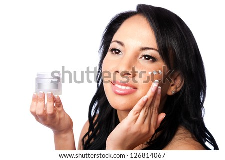 Facial skin Beauty treatment, beautiful face, skincare moisturizing rejuvenate exfoliating cream application, isolated. - stock photo