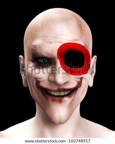Facially wounded psychopathic killer clown - stock photo