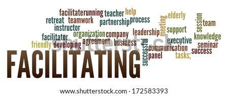 Facilitating in word collage - stock photo