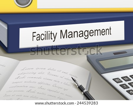 facility management binders isolated on the office table - stock photo
