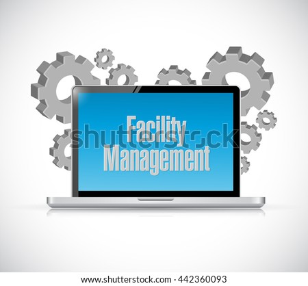 facility management laptop computer sign illustration design graphic - stock photo