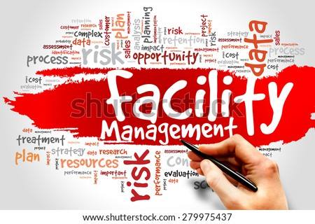 Facility Management word cloud concept - stock photo