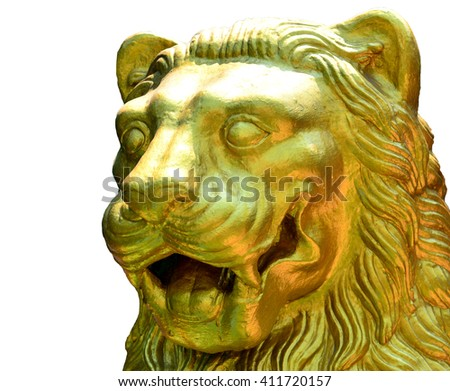 Facing side golden lion of statue on white background - stock photo