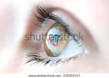 Fact reflection in eye.  - stock photo