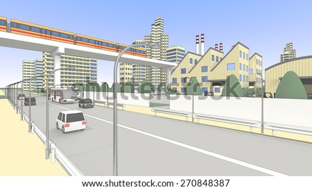 Factory and train and roadway - stock photo