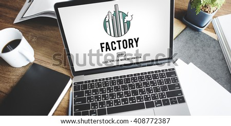 Factory Built Structure Organization Industrial Concept - stock photo