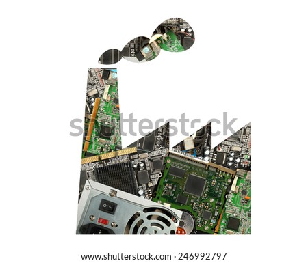 Factory for electronic waste recycling - stock photo