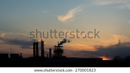 Factory pipe polluting air, environmental problems - stock photo