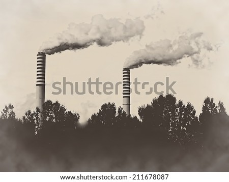 Factory plant stacks chimneys isolated on old sepia retro vintage background - stock photo
